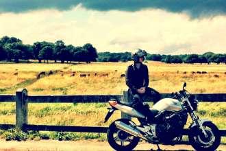 riding my honda motorcycle in richmond park, london