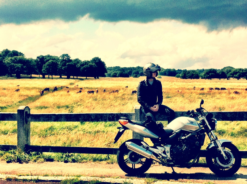 riding my honda motorcycle in richmond park, london
