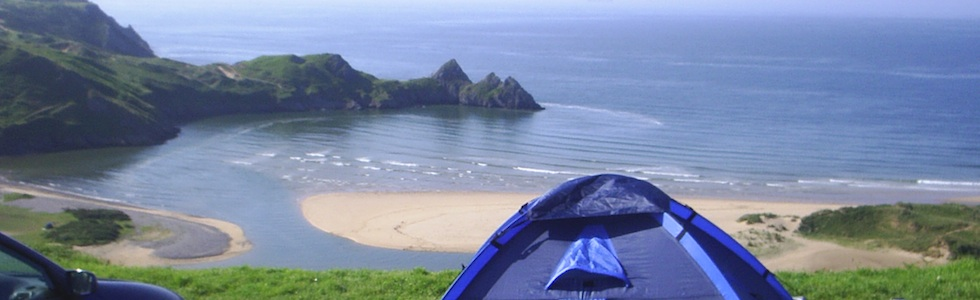 Three Cliffs Bay Campsite on the Gower Peninsula, Wales