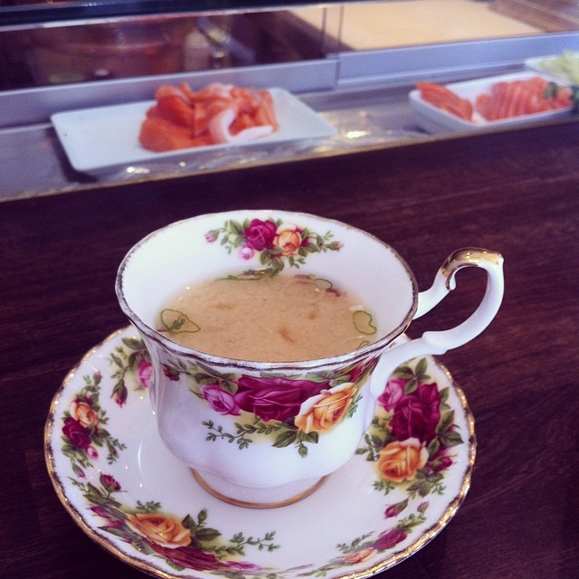 Miso Soup served in an English tea cup