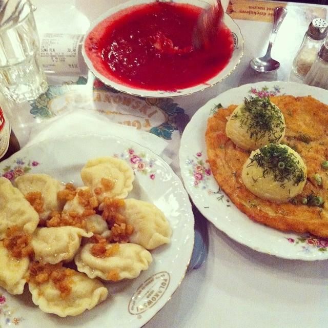 Traditional Bar Mleczny (Milk Bar) - Polish dumpling, Beetroot Soup, Schnitzel