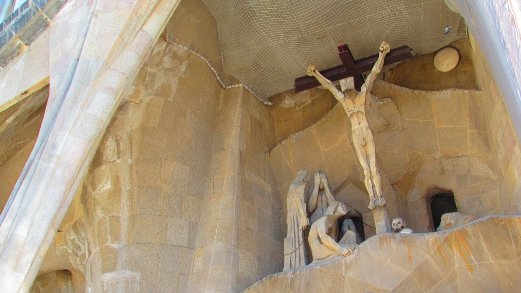 Jesus on the cross at the passion facade at La Sagrada Familia, Barcelona