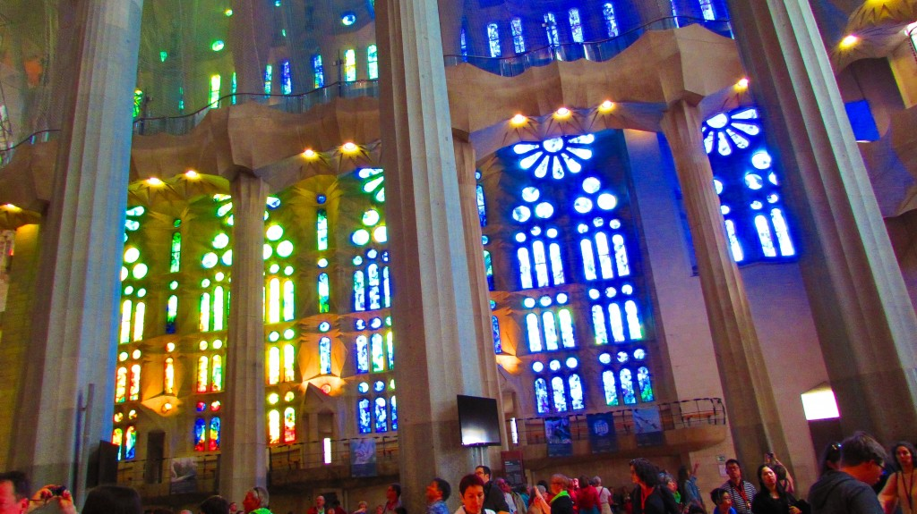 Blue stained glass windows inside La Sagrada Familia Barcelona