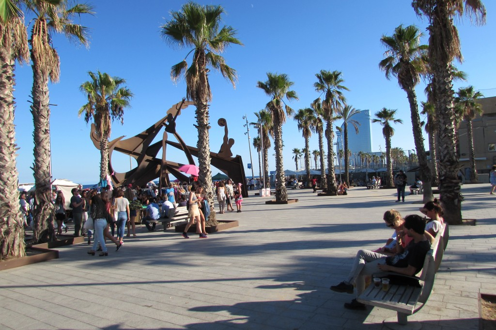 Palm trees and sunshine at Barceloneta beach Barcelona