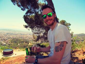 Sipping Spanish cider in the Carretera de les Aigües in the Colserolla Mountains of Barcelona