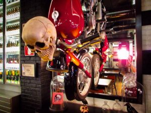 Motorcycle hanging from the wall at NaparBier Brewpub in Barcelona