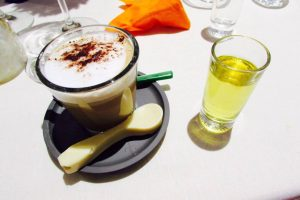 Coffee and orujo for dessert in Spain