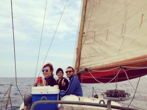 Group of friends sailing in Barcelona