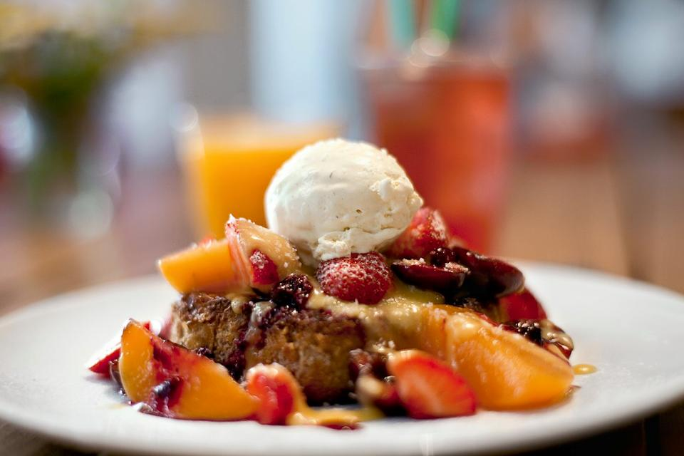 French toast with strawberries and ice cream