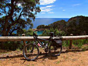 Cycling along the Costa Brava coast with sea views