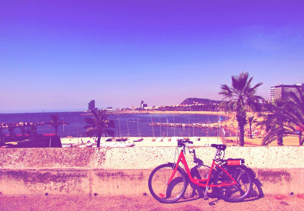 Cycling at the beach in Barcelona