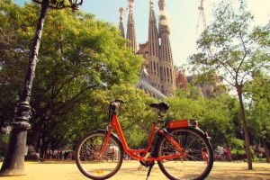 Donkey Republic rental bike at La Sagrada Familia in Barcelona