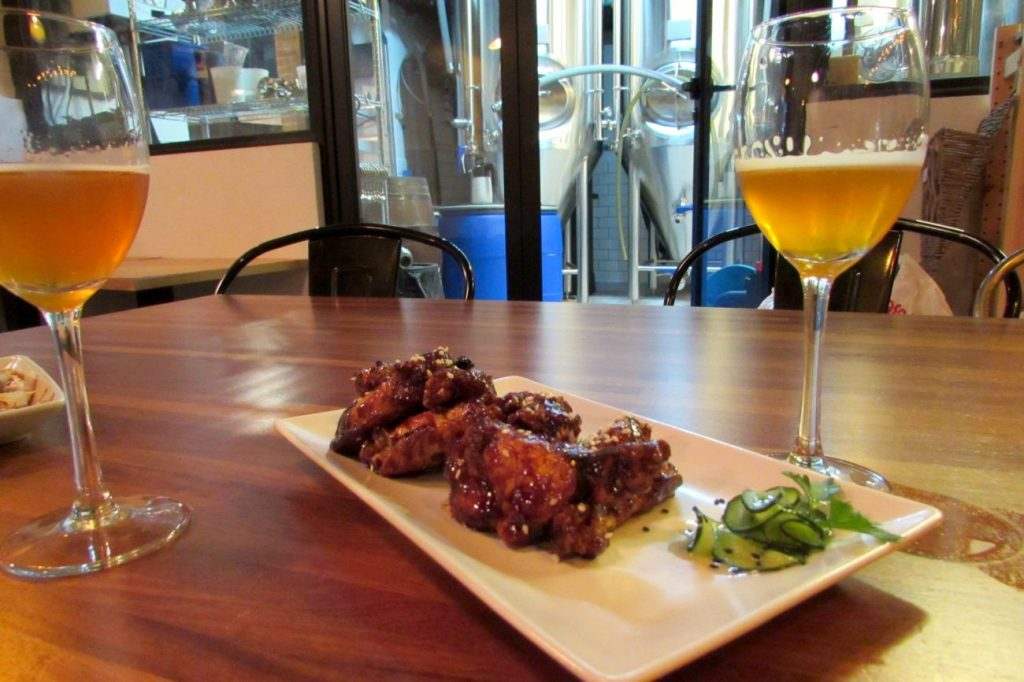 Sticky wings at BlackLab craft beer brewery and restaurant in Barcelona