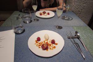 Dessert dish at Disfrutar restaurant in Barcelona