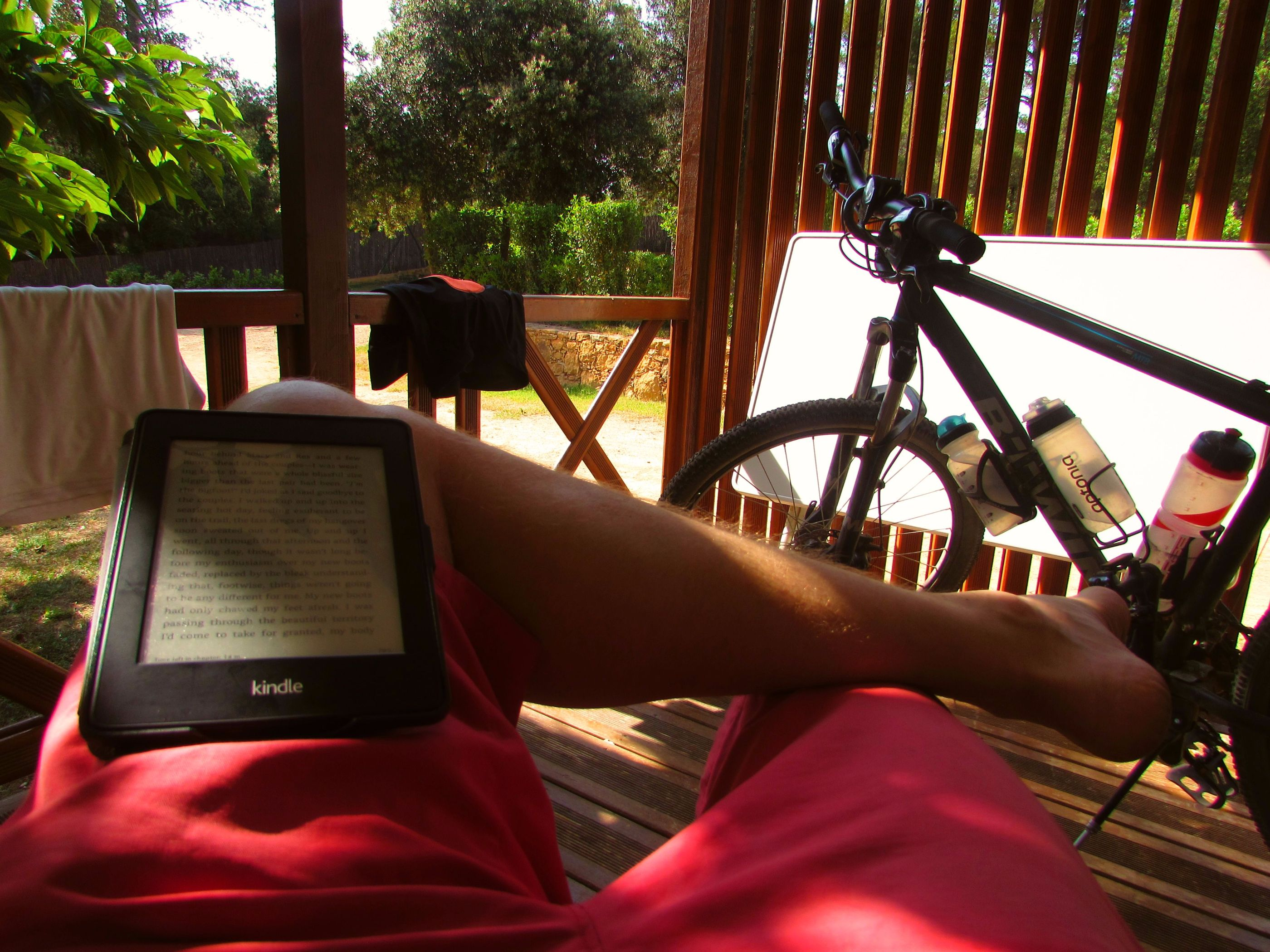 reading on my porch in Camping Begur, Costa Brava