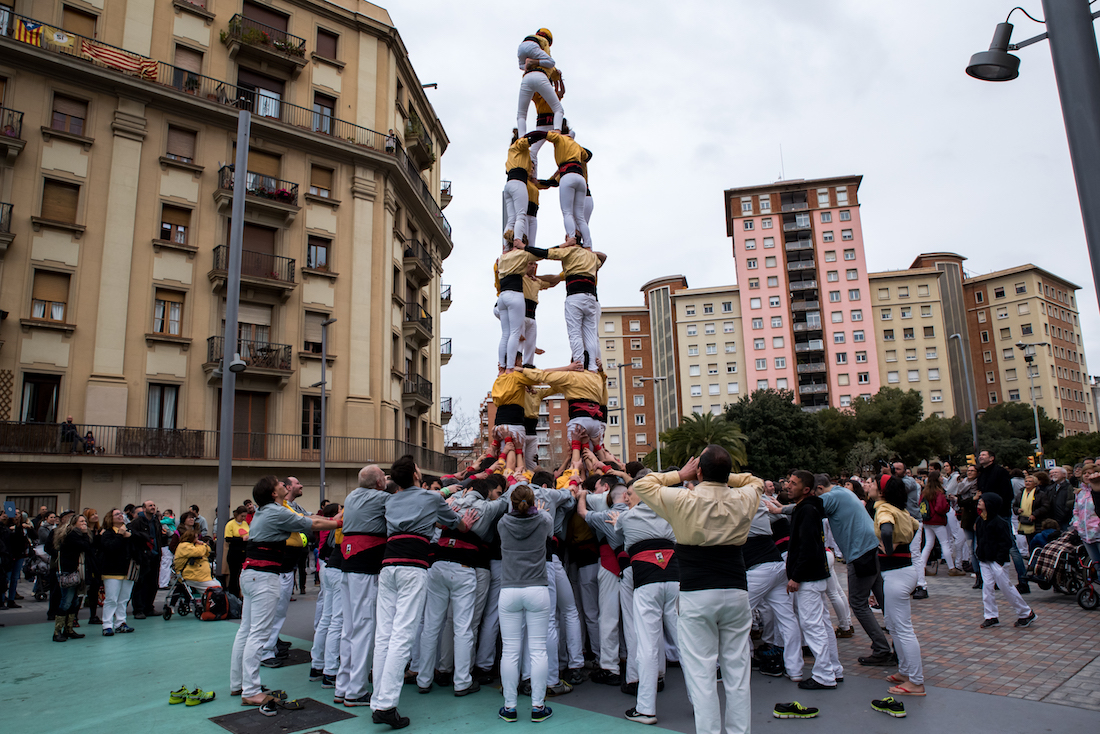 Catalan castellers (human towers) in Barcelona during La Merce- by Ben Holbrook