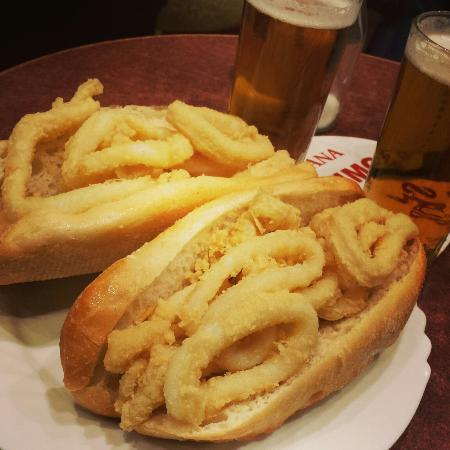 Bocadillo de Calamares in Madrid's Plaza Mayor