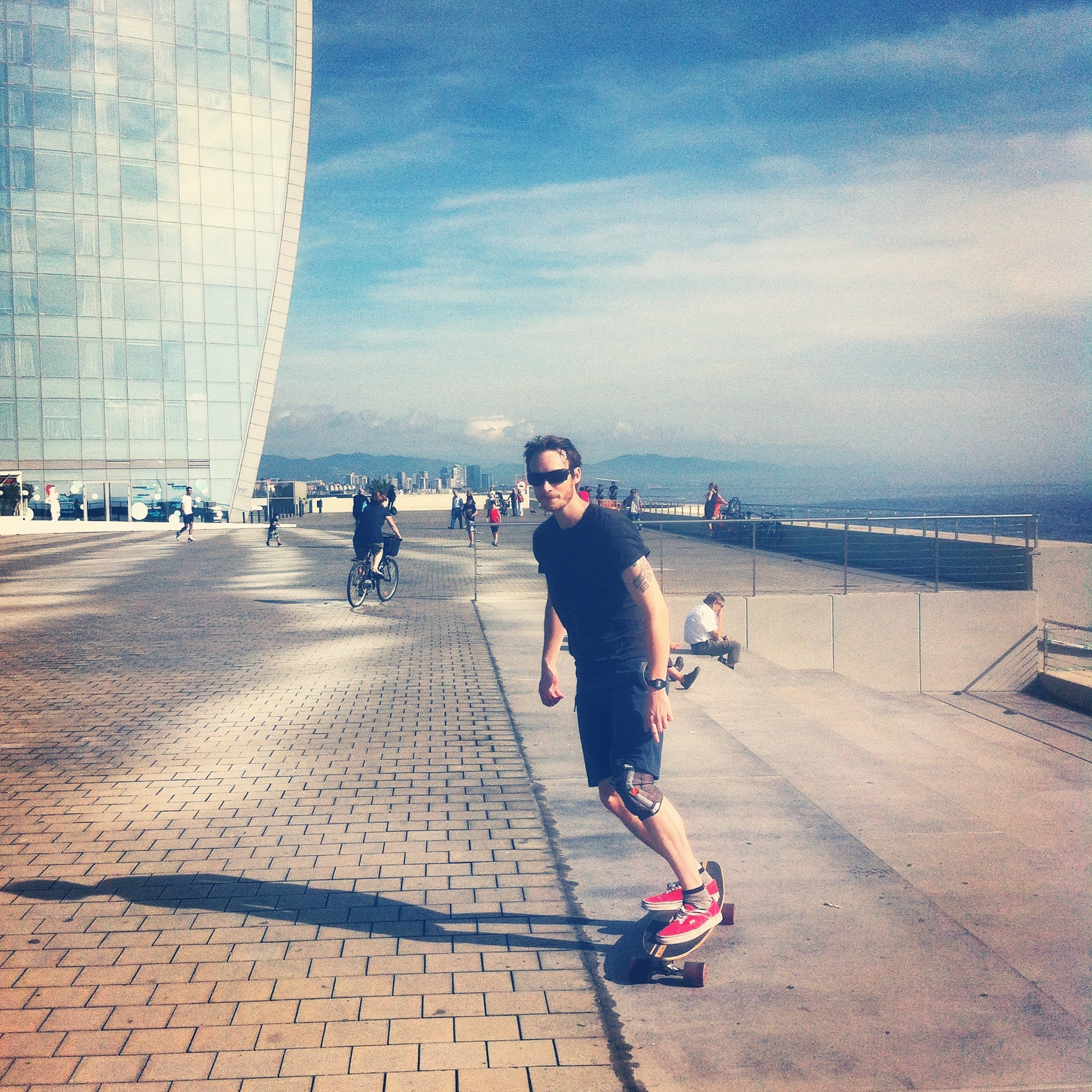 Longboarding near the W Hotel in Barcelona