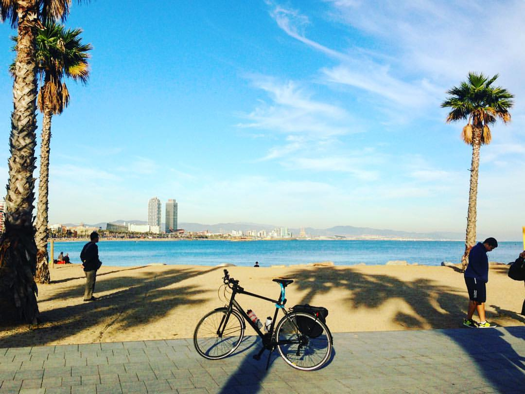 Cycling at Barceloneta beach in Barcelona December