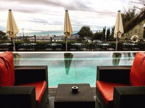 terrace bar and pool Gran Hotel La Florida Tibidabo Mountain Barcelona