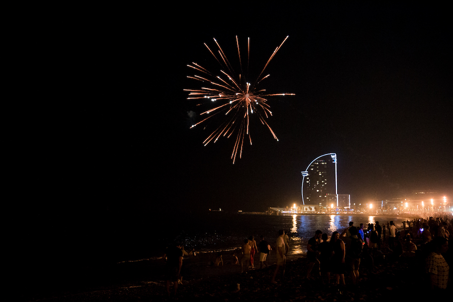 Barcelona San Juan Firework Celebrations on Barceloneta Beach by Ben Holbrook from DriftwoodJournals.com