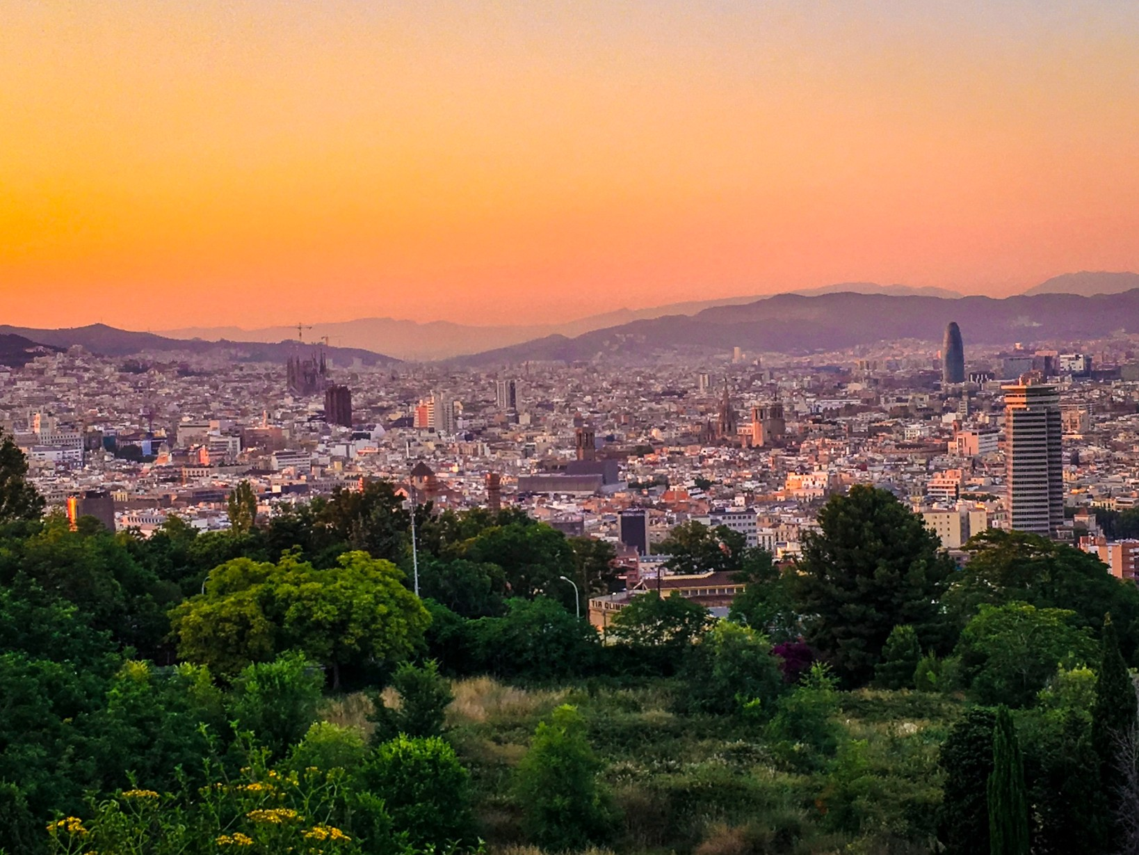 Sunsets over Barcelona from Poblesec