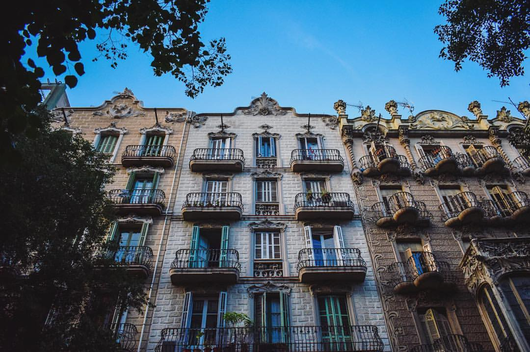 Modernist apartment buildings on Carrer Enric Granados, Eixample, Barcelona - by Ben Holbrook