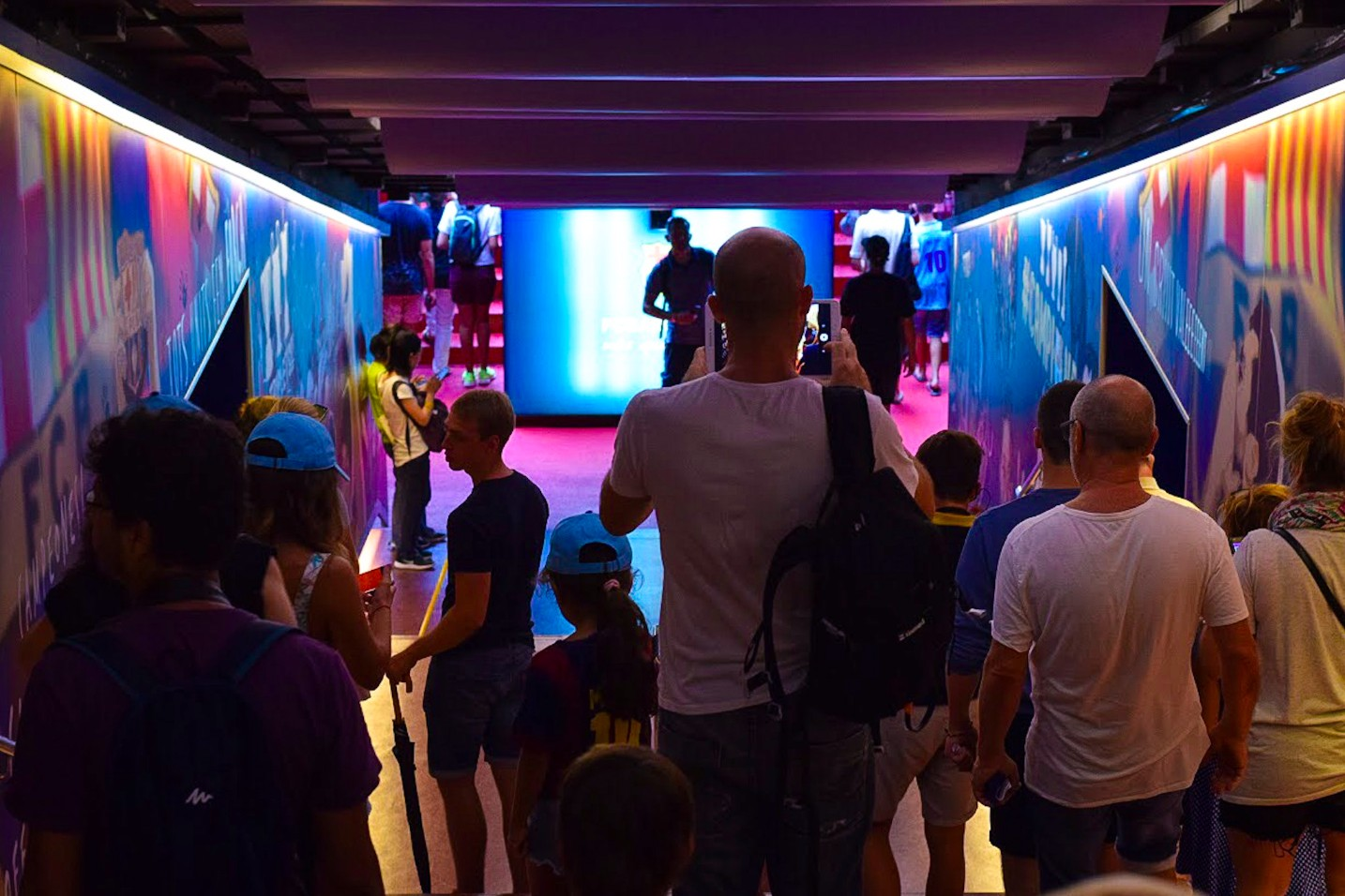 Walking through the tunnel onto the FCB Camp Nou Pitch