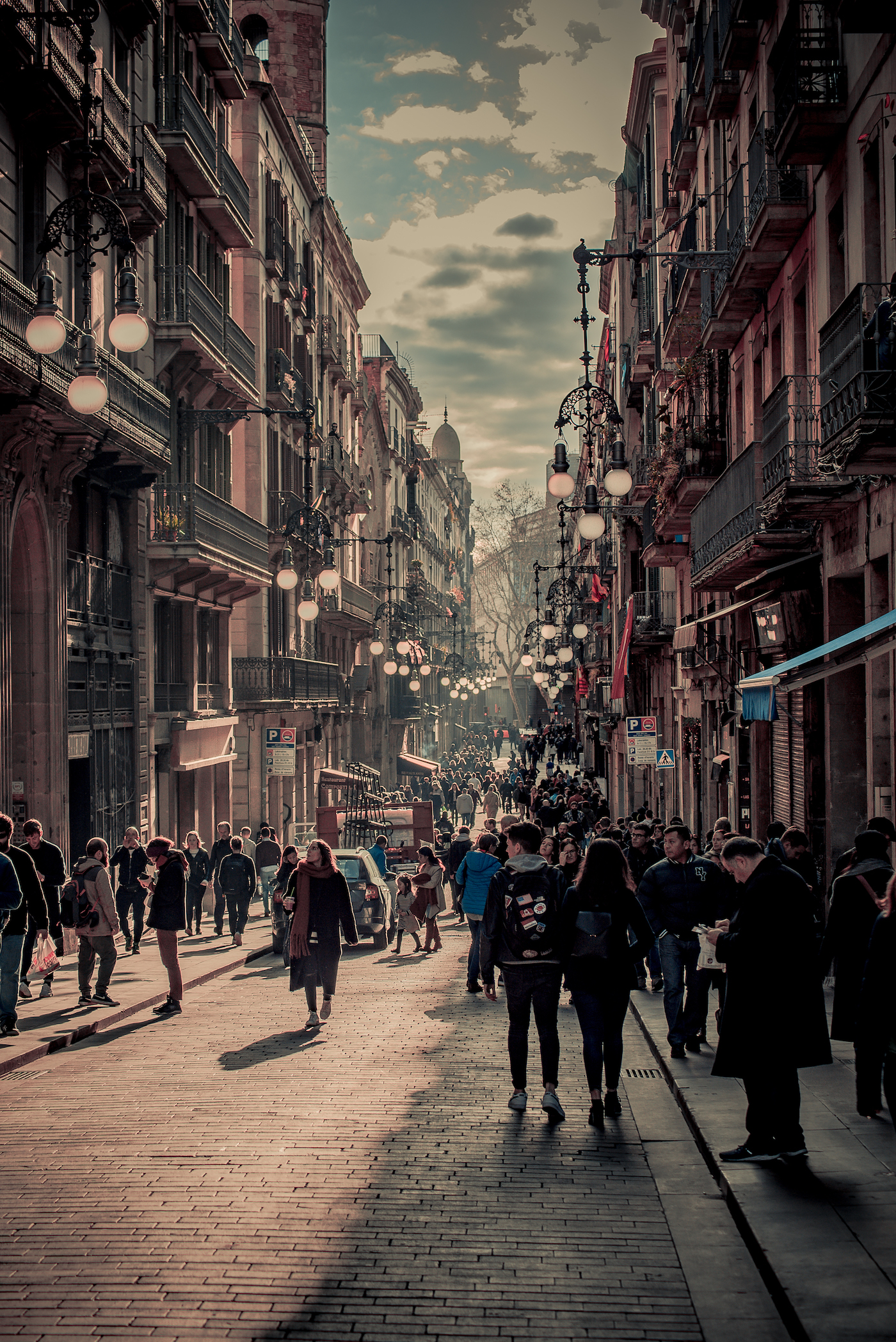 Life and light on Carrer Ferran in Barcelona's Gothic Quarter - by Ben Holbrook