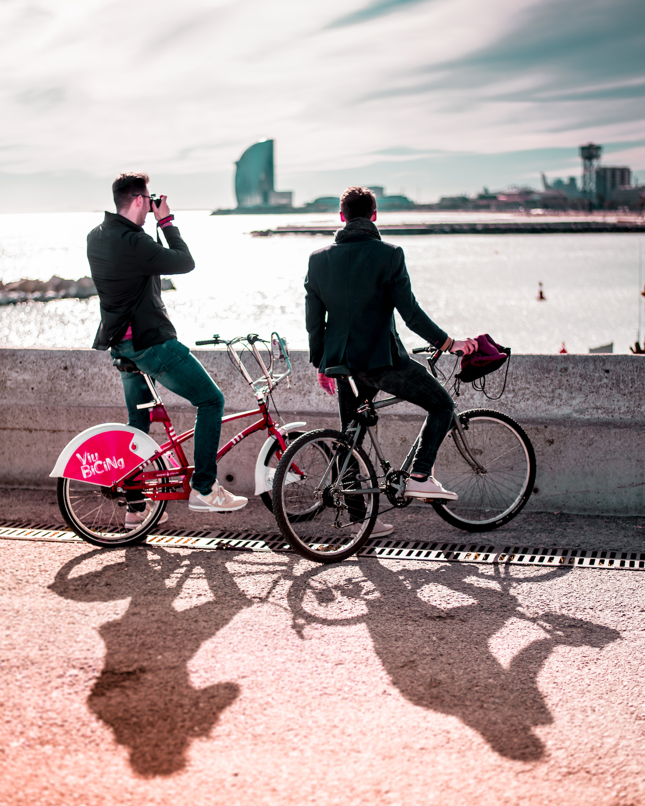 Cycling at the beach in Barcelona - by Ben Holbrook