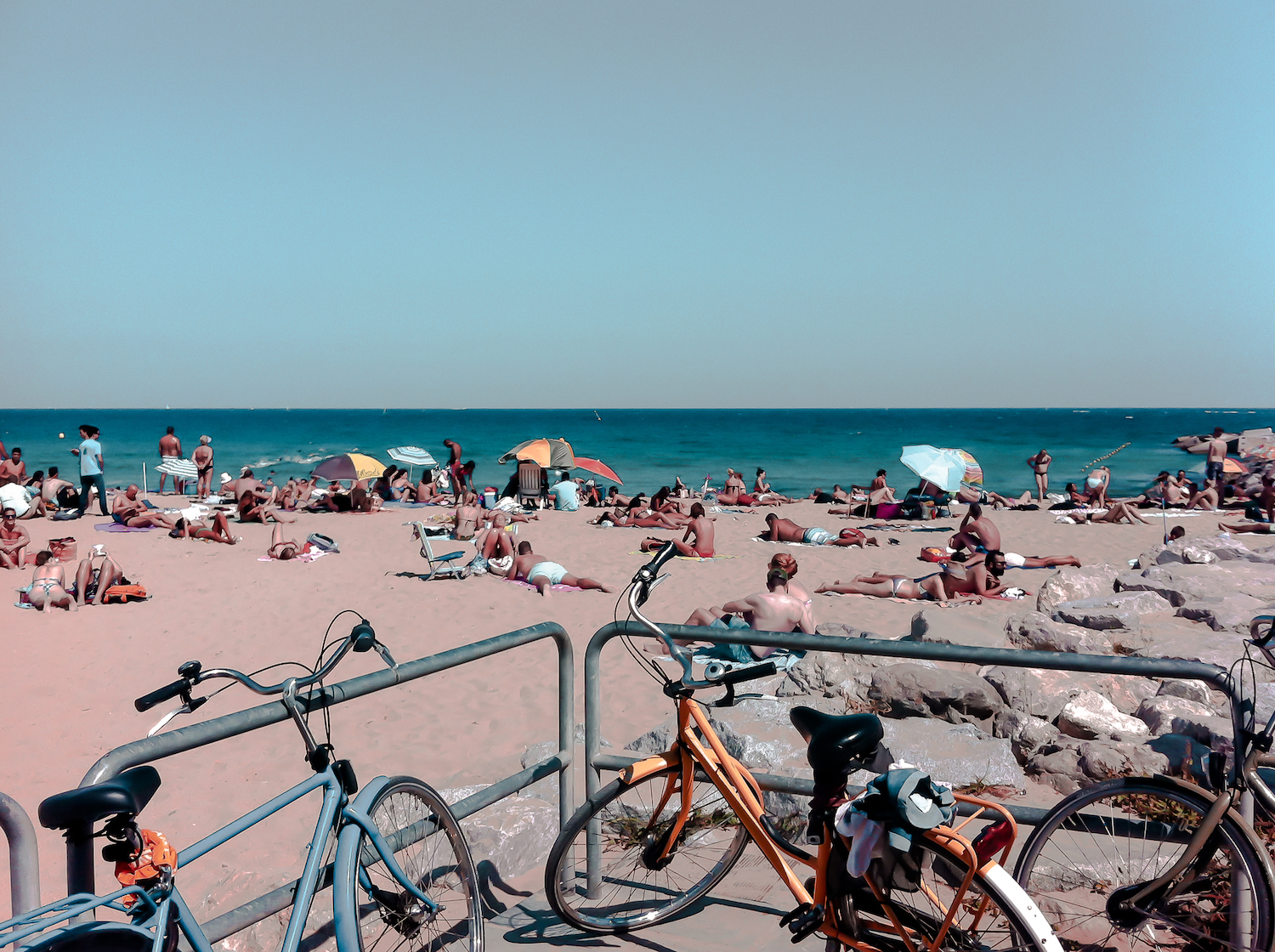 Cycling by the beach in Barcelona
