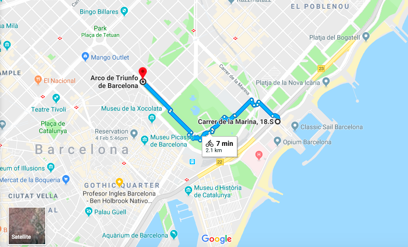 Barcelona bike ride route mapped on Google Maps by Ben Holbrook of Driftwood Journals Travel Blog