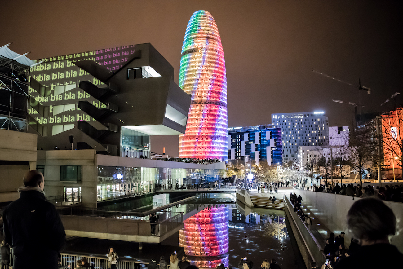 Torre Agbar/Glories Building in Barcelona Illuminated during the Llum light show