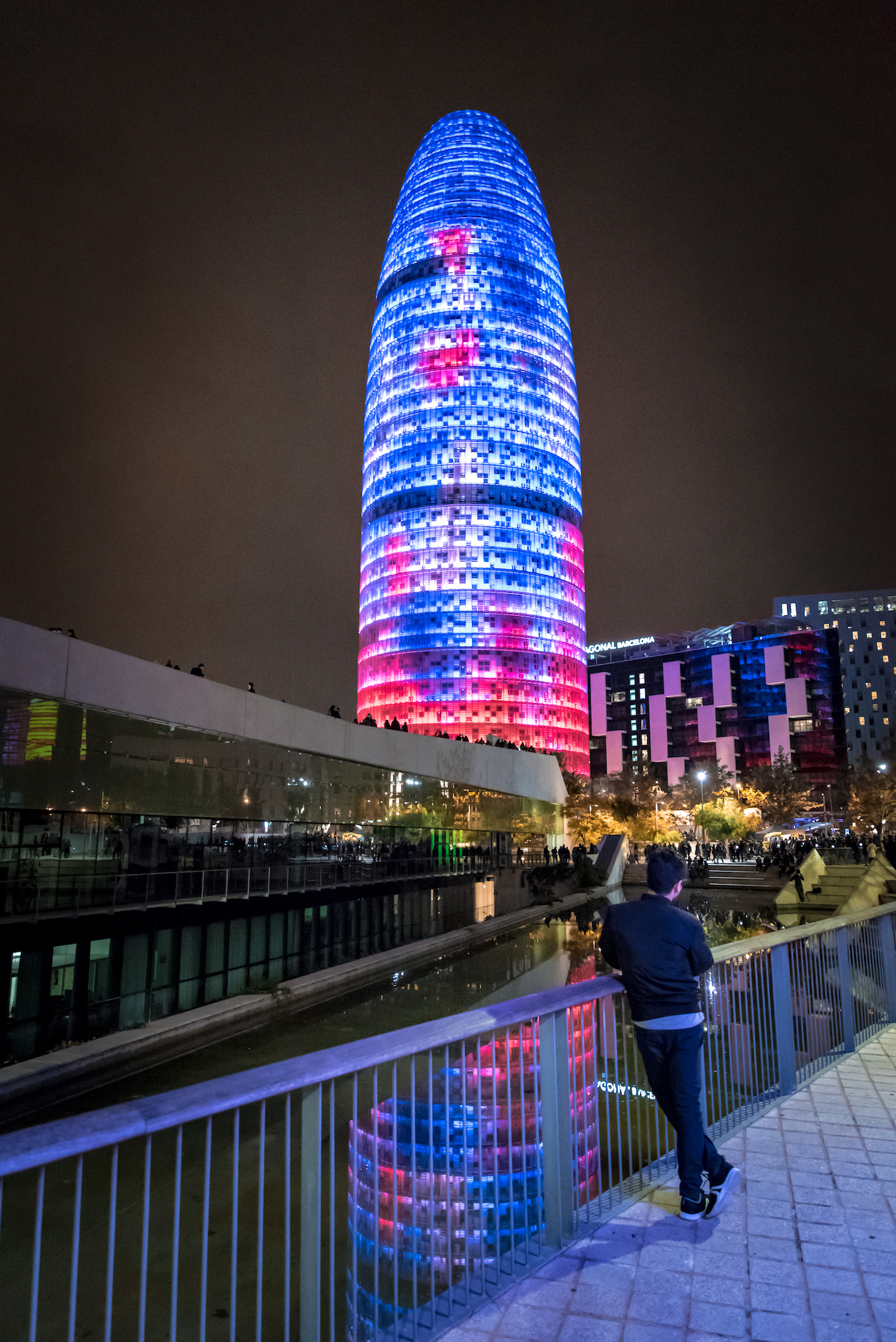 Torre Agbar/Glores Building in Barcelona Illuminated during the Llum light show