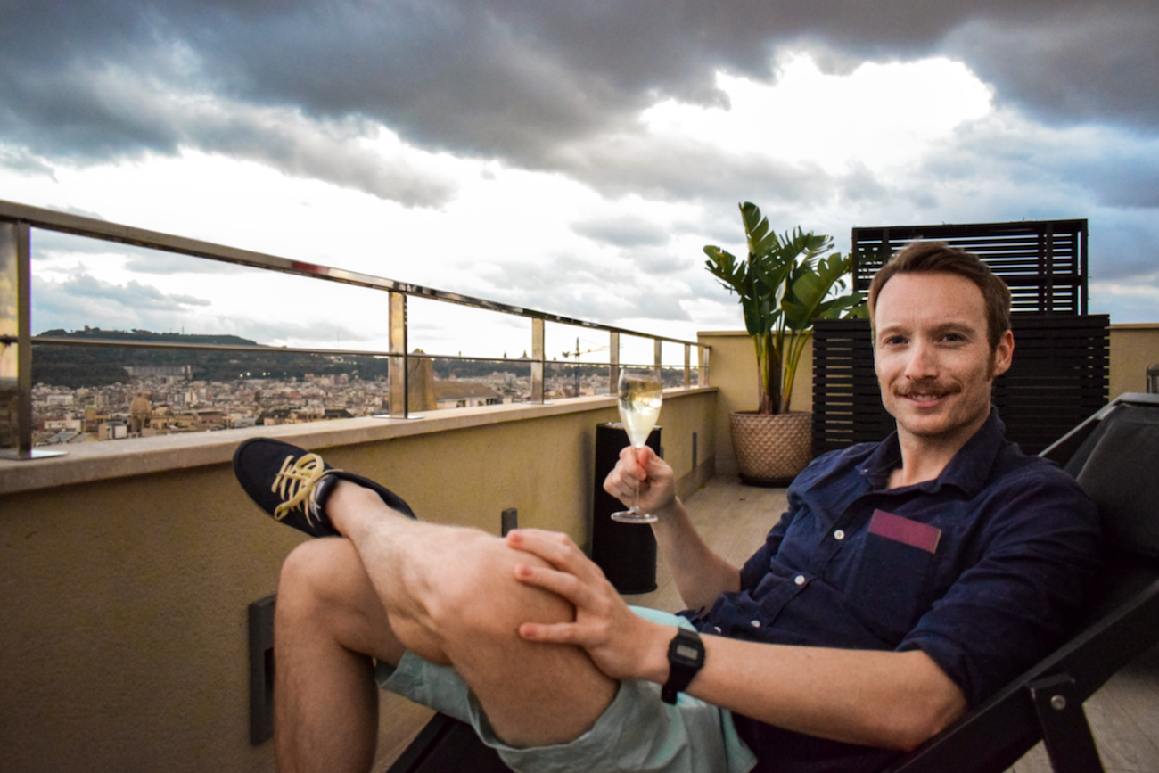 Ben Holbrook on the roof of Avenida Palace Hotel Barcelona