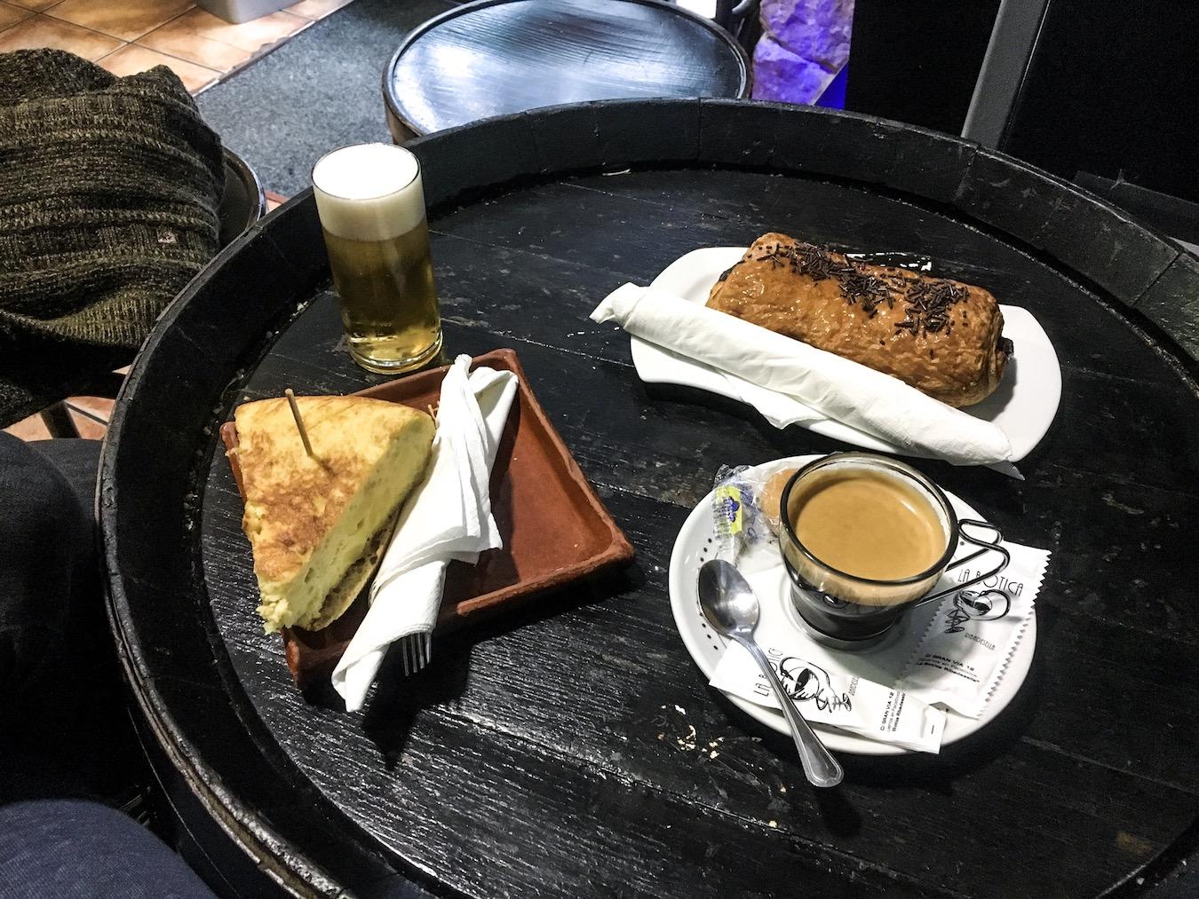 Traditional Spanish breakfast in Ben Holbrook in Ribadesella, Asturias, northern Spain.