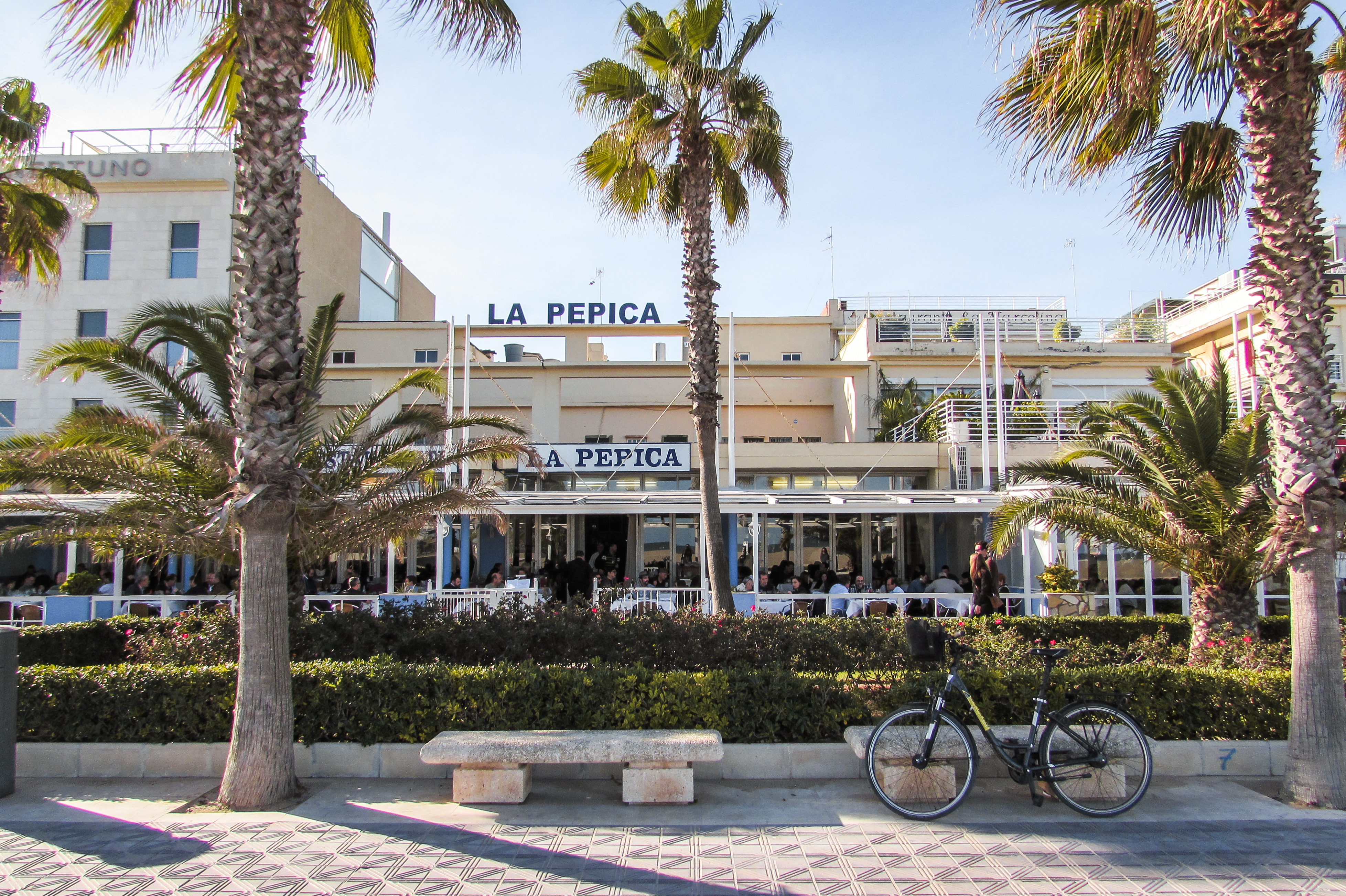 La Pepica paella restaurant by the beach in Valencia.