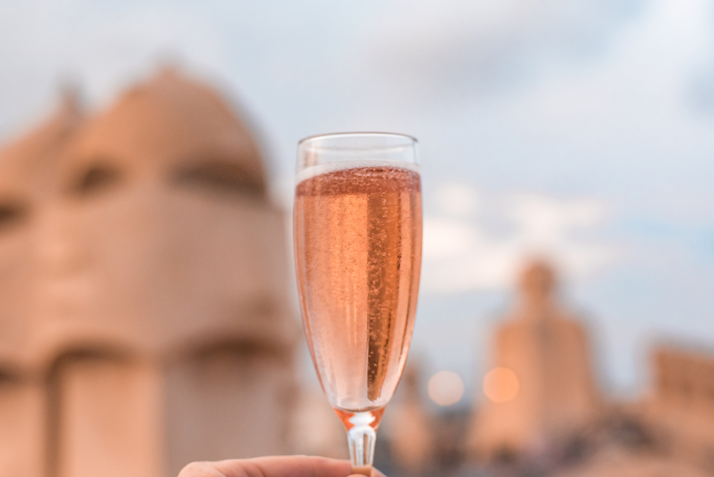 Drinking Catalan cava on the rooftop terrace of Antoni Gaudi's La Pedrera