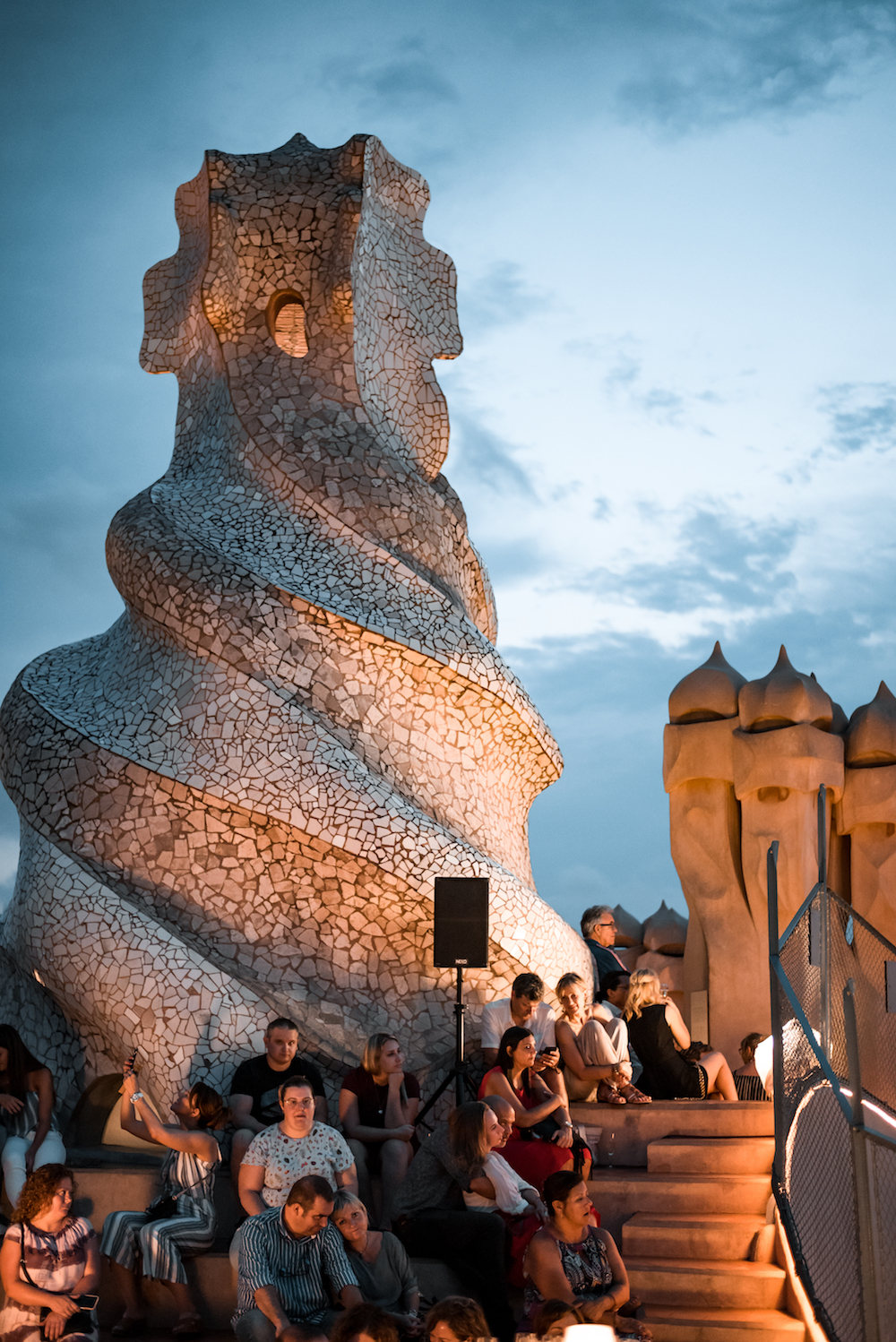 Rooftop jazz concert and cava at Antoni Gaudi's La Pedrera Building in Barcelona