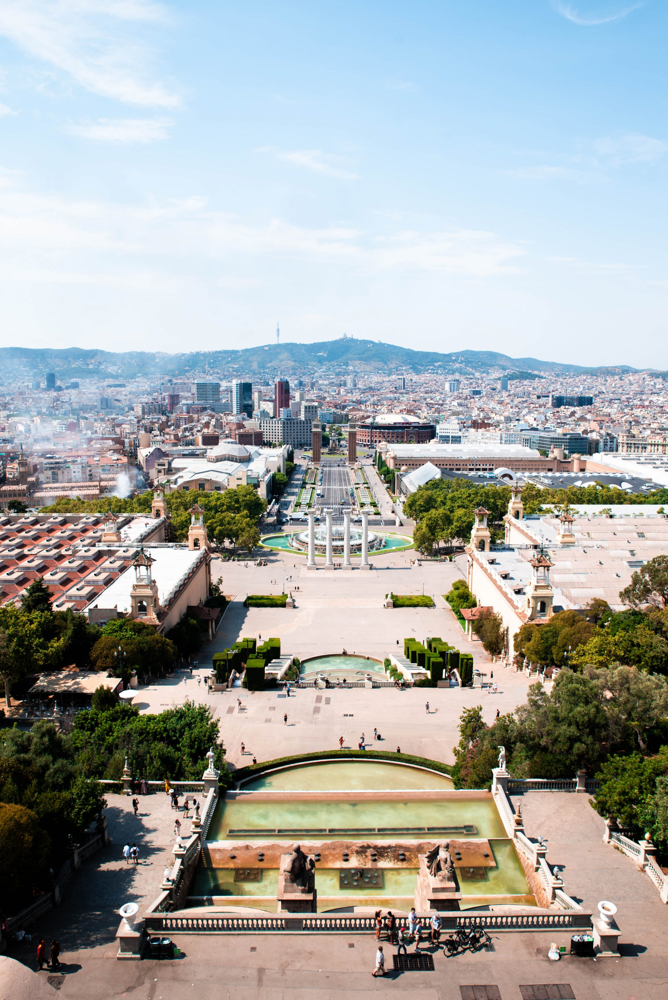 Rooftop terrace views from Barcelona's MNAC museum.