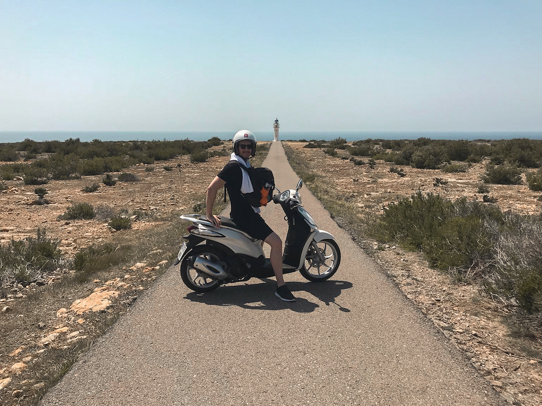 Riding a scooter around the island of Formentera - by Ben Holbrook