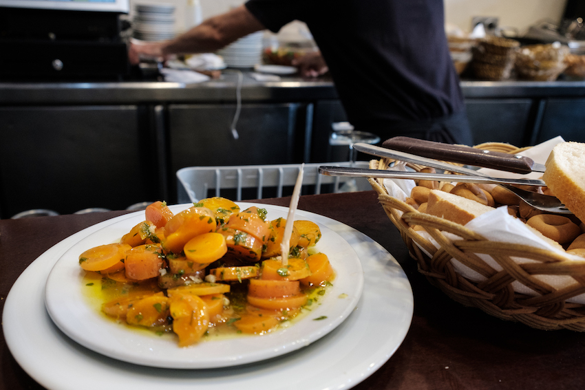 Seville's traditional marinated carrots at Las Golondrinas 2 Tapas Bar in Triana, Seville - by Ben Holbrook from DriftwoodJournals.com
