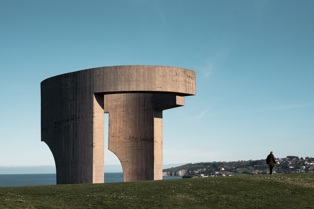 Gijon's emblematic-but-bizzarre Elogio Del Horizonte sculpture by Eduardo Chillida.