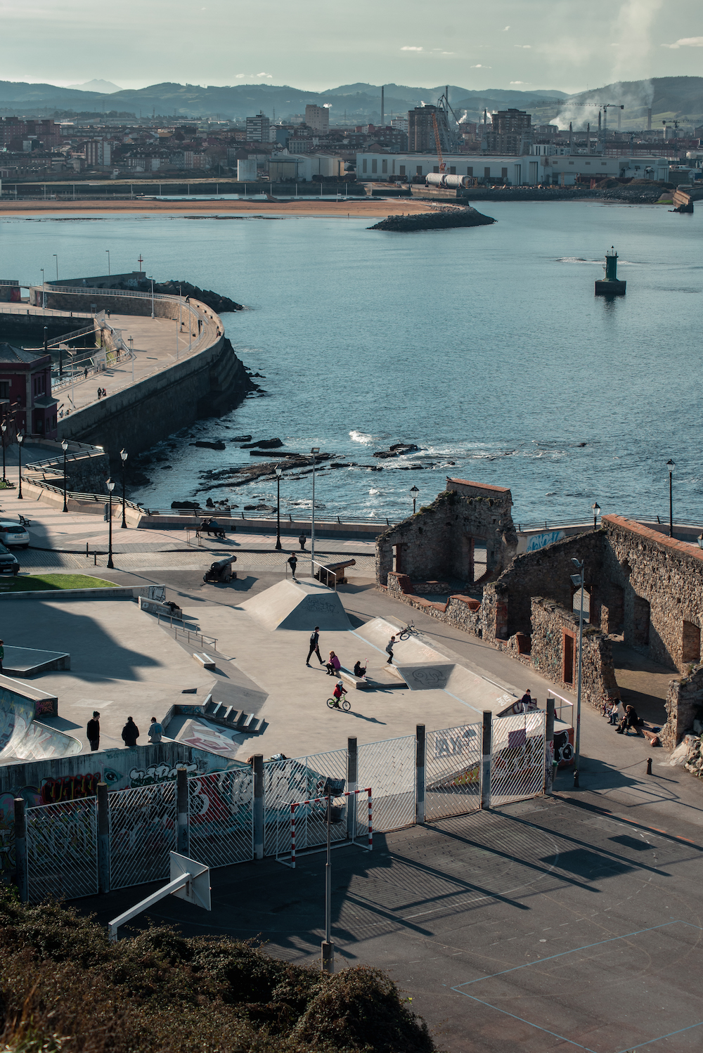 Gijon's skatepark - and industrial area.