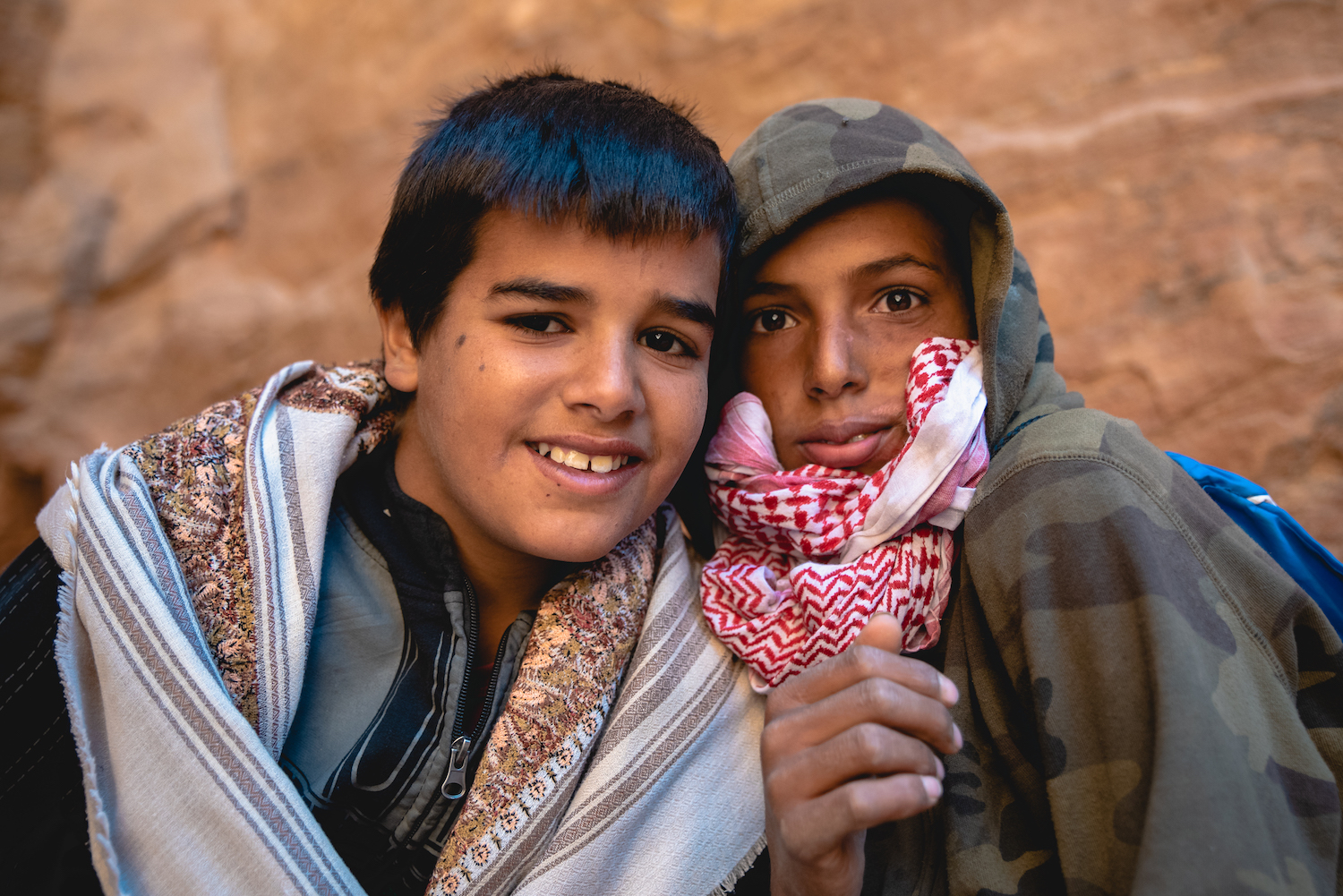Muhammed and Ali. Petra postcard sellers - by Ben Holbrook from DriftwoodJournals.com