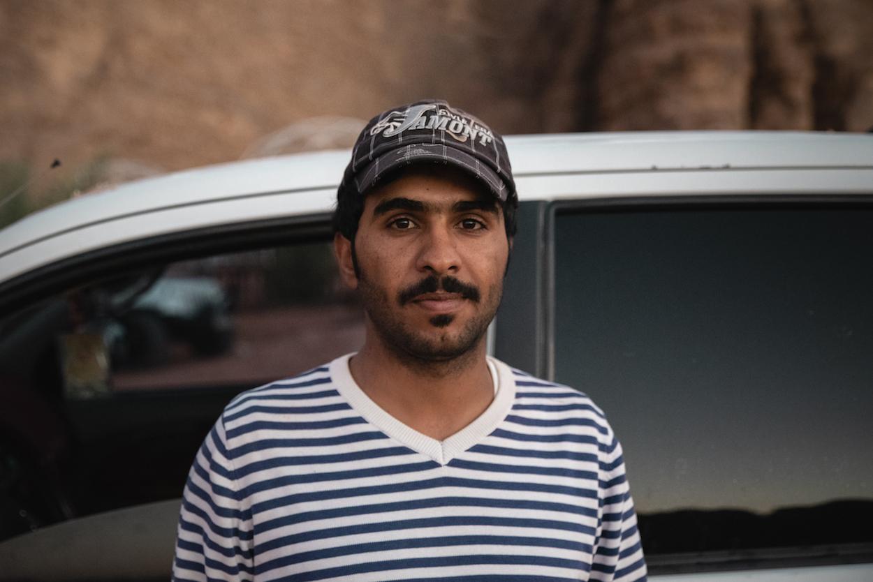 Our desert driver.in Jordan's Wadi Rum desert - by Ben Holbrook from DriftwoodJournals.com.