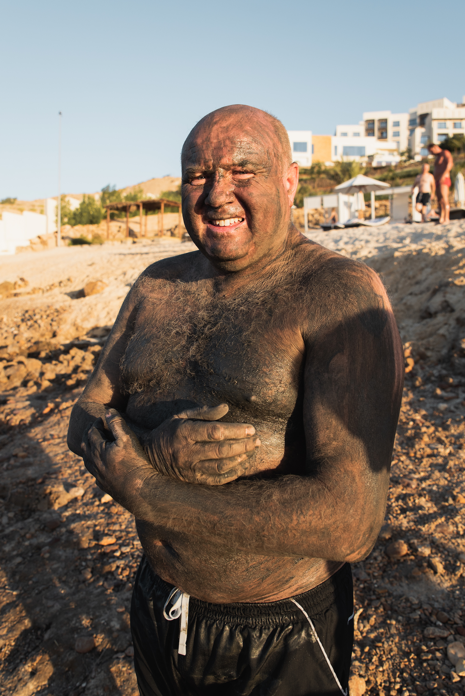 Mud bath and bathe, Dead Sea, Jordan.
