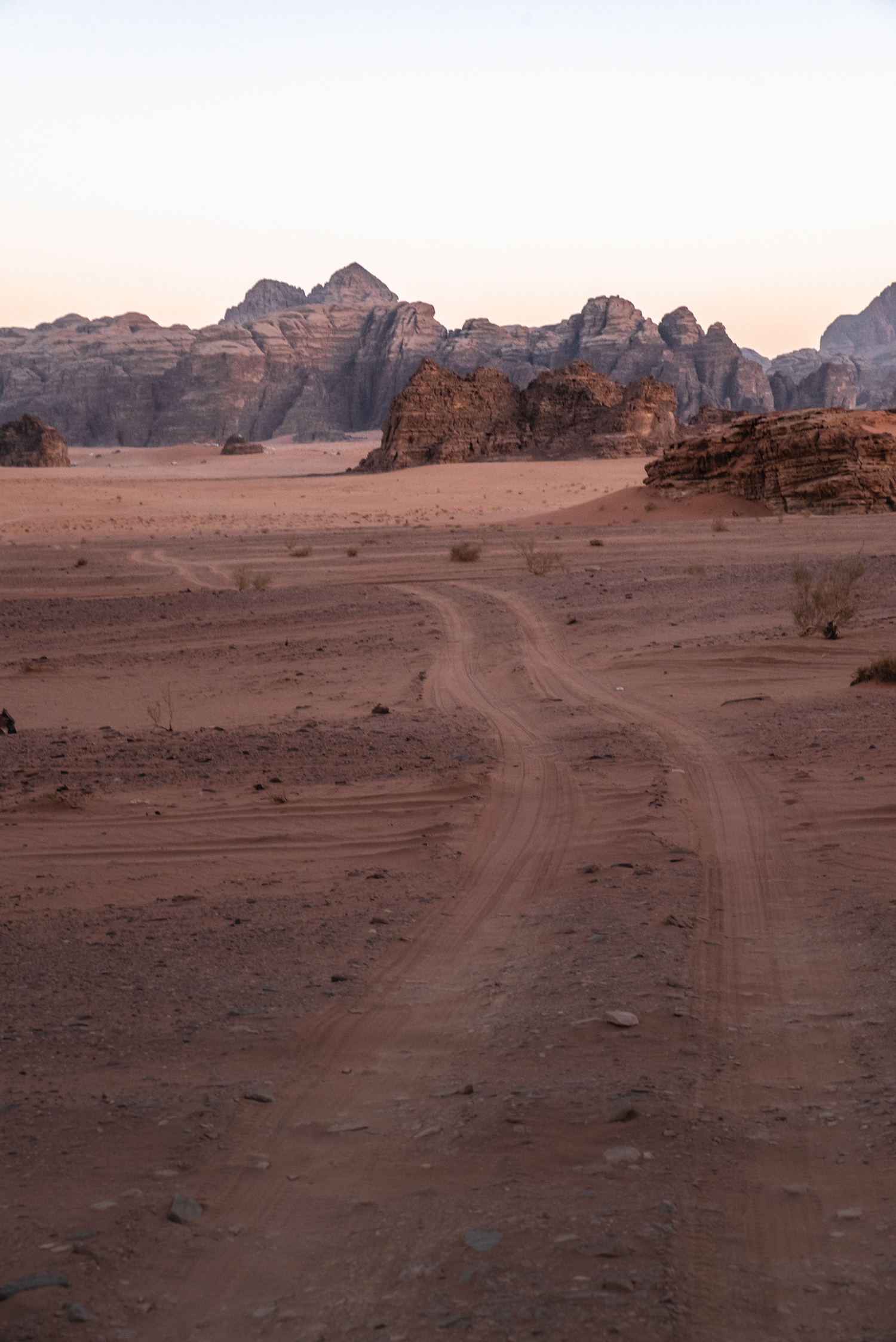 Desire lines at dusk in Jordan's Wadi Rum desert - by Ben Holbrook from DriftwoodJournals.com.