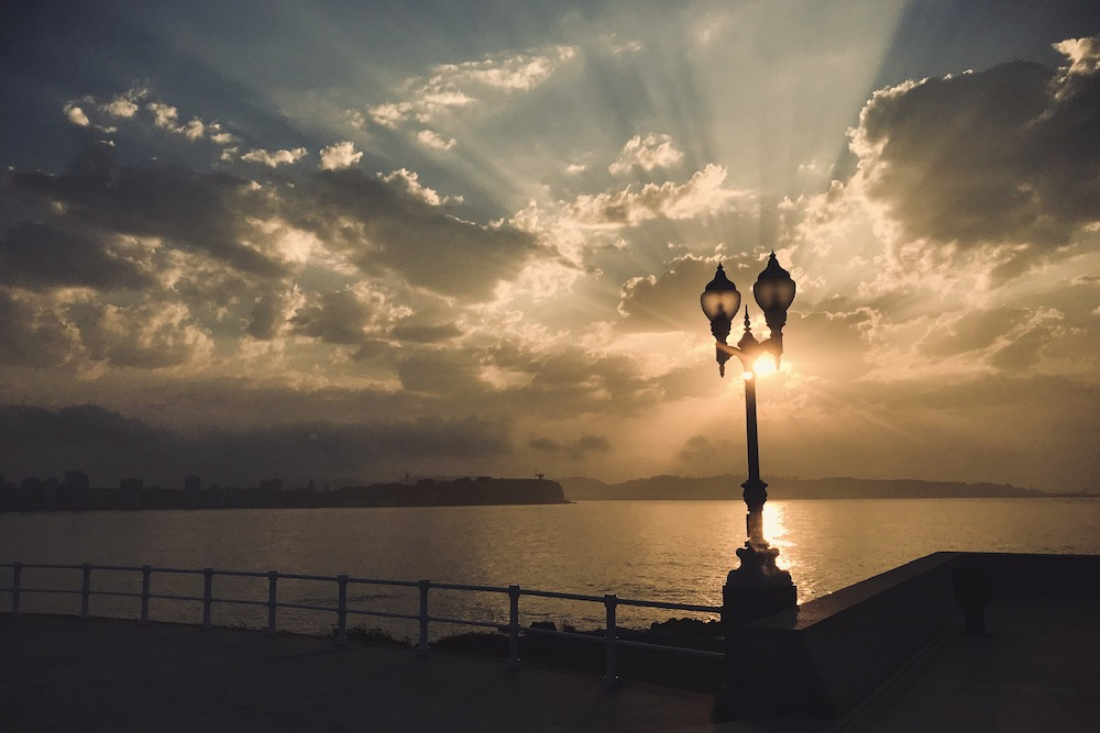 Sunset in Gijon, Asturias, northern Spain photography by Ben Holbrook from DriftwoodJournals.com