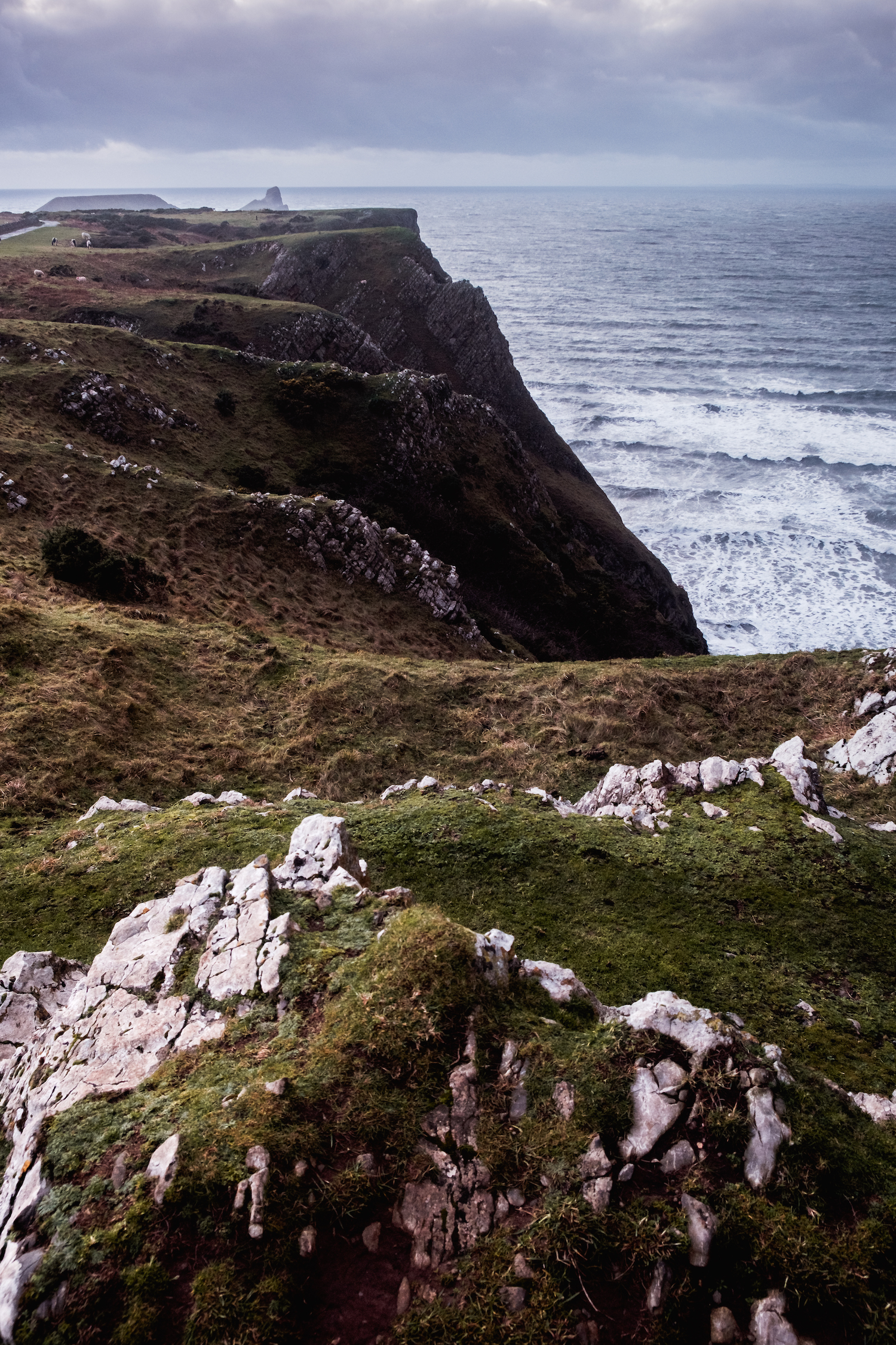 Looking over the cliffs to Worm's Head, Rhossili Bay (Gower Peninsula, South Wales).